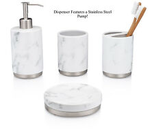 Essentra Home 4-Piece White Ceramic Bathroom Accessory Set with Marble Look