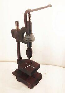 Vtg antique cast iron belt drive driven bench top pull arm handle drill press