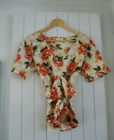 TOAST TOP SILK BLOUSE FLORAL PRINT V NECK JIGSAW UK 8 10 SMALL NEW!