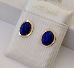 Small Oval Natural Lapis Set In Solid 14K Yellow Gold Earring NEW