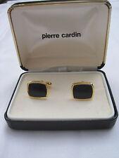 Pierre Cardin Rectangular Gold-Tone Cufflinks w/ Onyx Centers, New Old Stock
