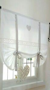 Gardine Raffrollo Spitze Herz grau v.Breite ab 60-170 cm Landhaus Shabby Vintage