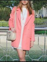 ZARA PINK DOUBLE BREASTED COAT JACKET SIZE SMALL