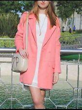 Zara Rosa Abrigo Doble Botonadura Chaqueta Talla Pequeña