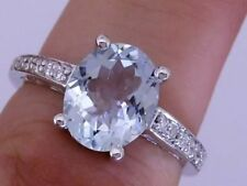 White Gold Aquamarine Solitaire with Accents Fine Rings