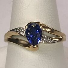 Estate Purchased Solid Yellow 10K Gold Pear Sapphire Solitaire Diamond Ring EUC