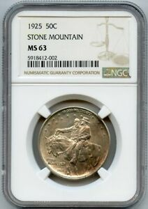 1925 50c Stone Mountain Silver Commemorative Half Dollar NGC MS 63