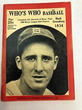 1936 WHO'S WHO IN BASEBALL HANK GREENBERG Detroit Tigers Cover CLEAN Magazine