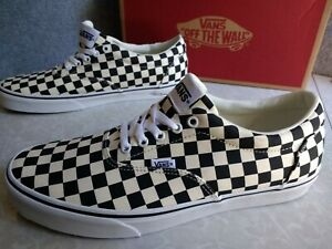 NIB Men's Vans Doheny Checkerboard Canvas Skate Shoes Black / White Size 12