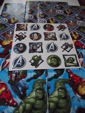 Marvel Avengers Wrapping Paper Gift Wrap 5 Sheets 2 Designs + 16 Stickers