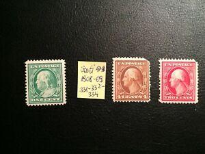 United States stamp 1908-09 Perf. 12 Scott # 331-32, 334 MN OG Nice Offer