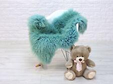 Peau de Mouton Véritable Cheveux Bouclés Tapis Moelleux Aqua Turquoise Couleur