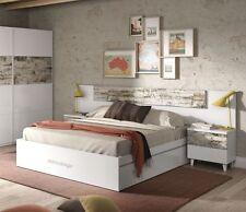 Cabezal de cama con dos mesitas color blanco y roble 100x247