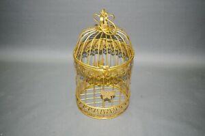 Goldener Käfig Metall Vogelkäfig Dekoration 35 cm Blumenampel altgolden