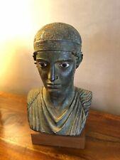 Buste  en acier empereur romain  sur support en bois