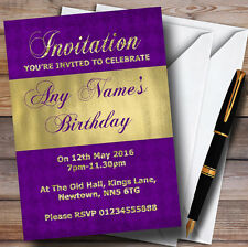 Purple And Glitter Look Gold Birthday Party Personalised Invitations