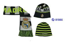 NEW! REAL MADRID SET BEANIE AND SCARF REVERSIBLE OFFICIAL PRODUCT WINTER SOCCER