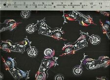 Elizabeths Studio ~ Motorcycles Bikes HOGS on Black 100% Cotton Quilt Fabric BTY
