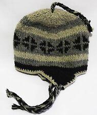 made in nepal  beanie  Pilot Ski Hat cap handmade 100% Wool with Fleece lining!
