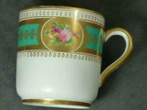 ANTIQUE- COFFEE CUP- ROSE MOTIFS- RICHLY GILDED