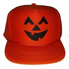 Kids Pumpkin Head Halloween Costume Snapback Mesh Trucker Hat Cap Orange