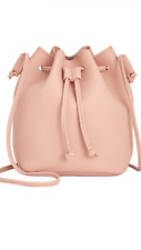 Macy's Bucket Shoulder Crossbody Hand Bag Faux Pebbled Leather Light Pink NEW!