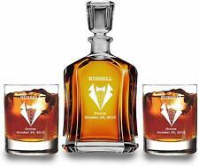 Personalized Whiskey Decanter Set -Groomsmen Gift - 2 Scotch Glass Set - Burbon