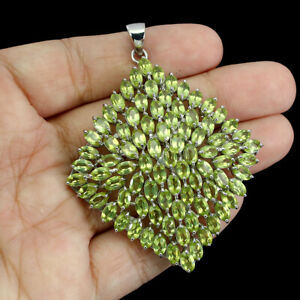 Unheated Oval Peridot 5x3mm 14K White Gold Plate 925 Sterling Silver Pendant