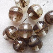 10 ronda granos marrón con líneas de bronce dentro de tamaño 13mm Artesanía Joyería haciendo