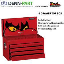 Teng Tools 6 Drawer Top Tool Box with Ball Bearing Slides Lockable TC806SV