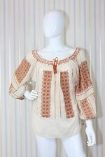 Calipso St. Barth Blouse/Top Ivory/Coral/Blue Size: M