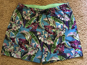 Tommy Bahama Swim Trunks Sz M XL Blue Pink Purple Tropical NWT