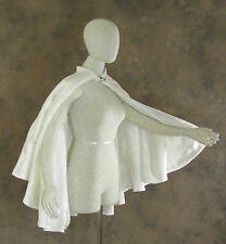 Ivory Half Cloak Velvet Lined in Satin Cape XL Victorian Capelet Medieval
