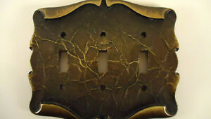 Vintage Brass Scroll Light Switchplate 3 Gang, Amerock Carriage House Collection