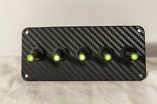 BLACK 3D WRAP CARBON FIBER PANEL w/ LED toggle switches - GREEN