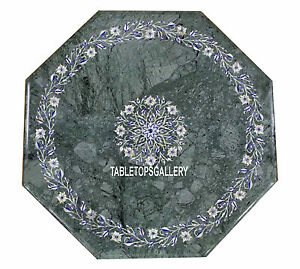 "15"" Green Marble Top Coffee Table Inlay Marquetry Floral Fine Arts Decor H3176"