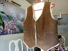 LEVI'S Vintage Brown Corduroy w/ Cream Sherpa Vest Sz Large - Made in U.S.A.