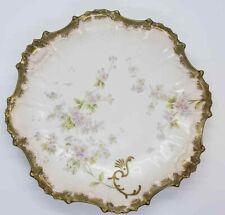 Antique Plate P&B Limoges France Pitkin & Brooks Porcelain Fluted Gold Edge