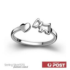 Sterling Silver Adjustable Ring Heart Pursue Little Dog Ring Size 6.5 to 7.5