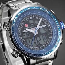 SHARK Fashion Mens Wrist Watch Sport LCD Digital Date Stainless Steel Quartz