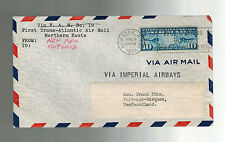 1939 USA First Flight Cover to Newfoundland FFC Imperial Airways