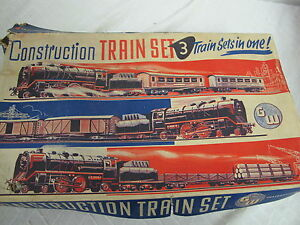 ANTIQUE CONSTRUCTION TRAIN SET TIN LITHO WIND UP IN BOX GW GERMANY US ZONE