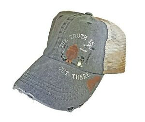 The Truth Is Out There With Bigfoot & Alien Trucker Hat Blue/Tan
