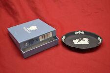 Wedgwood White on Black Jasperware Silver Tray .Cupids, dog & butterfly w/Box