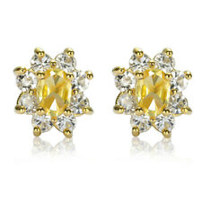 Xmas Jewelry Lady Citrine Fine Clear Topaz Yellow Gold Plated Stud Earrings