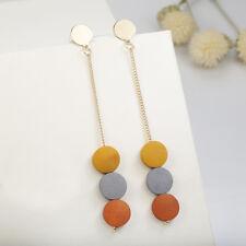 Fashion Coloured Round Wood Drop Earrings Pendant Tassel Earrings Jewelry Gift