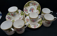 Set of Six Royal Tuscan Windsor Green Demitasse/Coffee Cups and Saucers