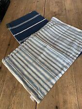 2 x Dark Blue & Ivory Stripe LINUM Scandinavian Linen Cotton CUSHION COVERS
