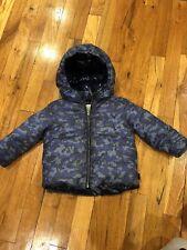 EUC Burberry Blue Camouflage Baby Boys Coat Puffer Warm SZ 12 Month