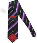 NEW! Paul Smith Striped Pure Silk Tie!   Black with Green Purple Blue Stripes